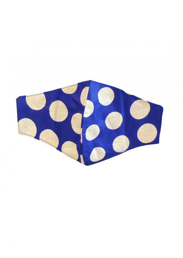 Kahawa & Treats - Blue and White Polka Dot Mask